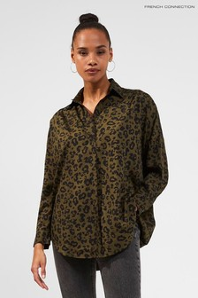 French Connection Green Animal Print Pop Over Shirt