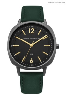 French Connection Khaki Leather Strap Watch