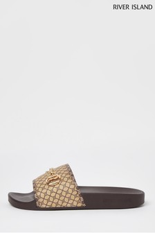 River Island Brown Monogram Sliders with Chain Detail