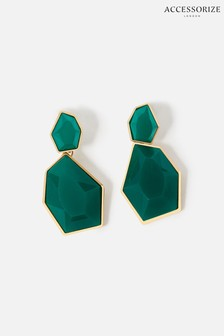 Accessorize Green Reconnected Statement Stone Drop Earrings