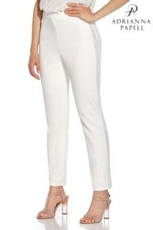 Adrianna Papell White Crepe Tuxedo Slim Pants