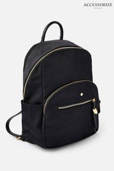Accessorize Black Nell Nylon Backpack