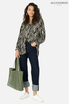 Accessorize Green Cord Shopper Bag