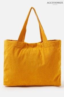 Accessorize Yellow Cord Shopper Bag