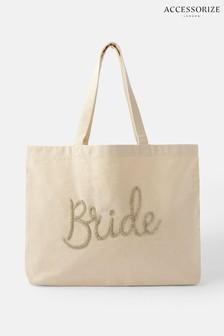 Accessorize Natural Bride Beaded Shopper Bag