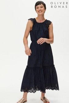 Oliver Bonas Blue Navy Embroidered Maxi Dress