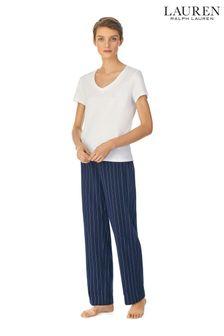 Lauren Ralph Lauren Blue Stripe Cotton Jersey Separate Long Pants