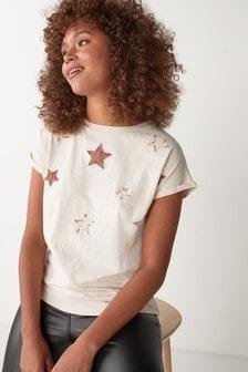 Oatmeal Velvet Star T-Shirt