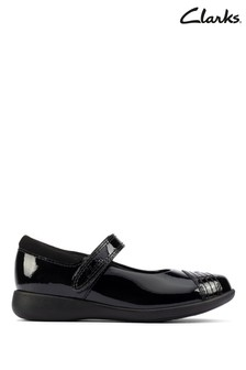 Clarks Black Patent Shoes with Rainbow Detail