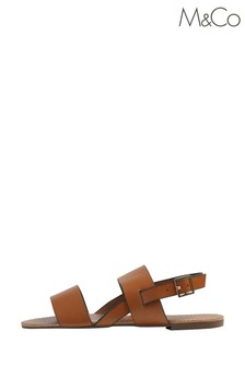 M&Co Brown Double Band Flat Sandals