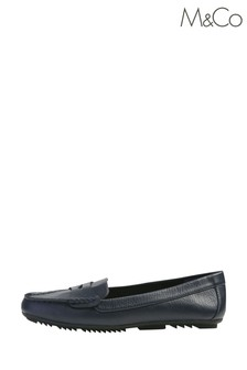 M&Co Blue Faux Leather Loafers