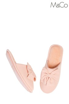 M&Co Pink Bow Jersey Slippers