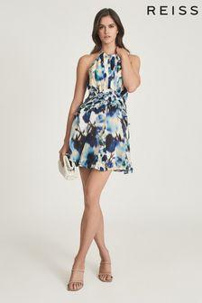 REISS Belle Printed Ruffle Mini Dress