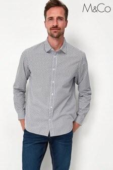 M&Co Blue Cotton Geo Print Shirt