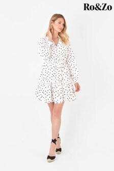 Ro&Zo White Spot Linen Mini Dress