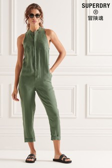 Superdry Green Cupro Sleeveless Jumpsuit