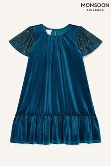 Monsoon Blue Sequin Velvet Swing Dress