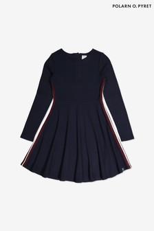 Polarn O. Pyret Blue Side Stripe Dress