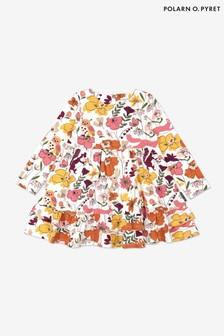 Polarn O. Pyret Cream Organic Cotton Nordic Nature Print Dress