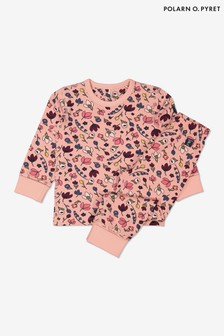 Polarn O. Pyret Pink Organic Autumn Floral Pyjamas