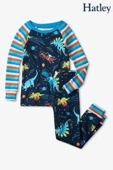 Hatley Blue Space Dinos Organic Cotton Raglan Pyjama Set