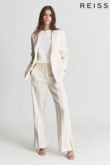 Reiss White Leah Wide Leg Tailored Trousers