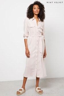 Mint Velvet White Stripe Midi Shirt Dress