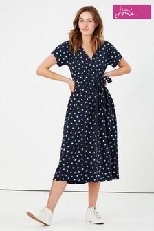 Joules Blue Riley Print Jersey Wrap Dress