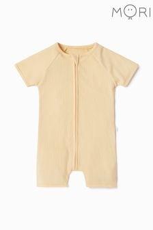 MORI Ribbed Short Sleeve Zip-Up Sleepsuit