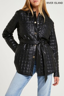 River Island Black Quilted Shacket Overshirt