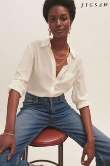 Jigsaw Cream Silk Long Sleeve Shirt