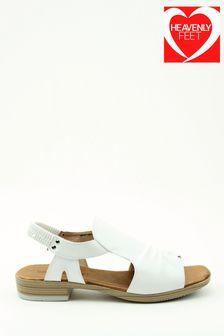 Heavenly Feet White Low-Heeled Sling-Back Sandals
