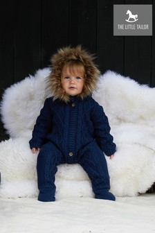 The Little Tailor Navy Baby Knitted Faux Fur Trim Fully Lined All-In-One