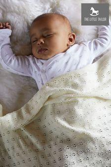 The Little Tailor Cream Pointelle Blanket