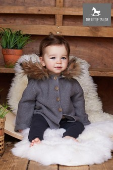 The Little Tailor Charcoal Faux Fur Trimmed Hooded Jacket