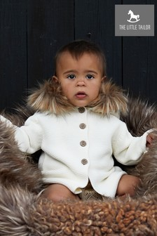 The Little Tailor Cream Faux Fur Trimmed Hooded Jacket