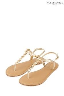 Accessorize Gold Athena Coin Metallic Sandals
