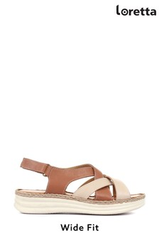 Loretta Ladies Wide Fit Flat Leather Sandals