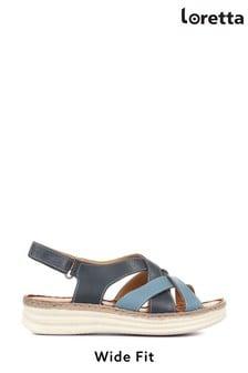 Loretta Ladies Blue Wide Fit Flat Leather Sandals