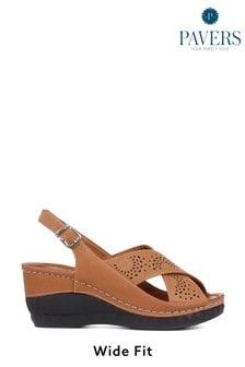 Pavers Ladies Wide Fit Wedge Sandals