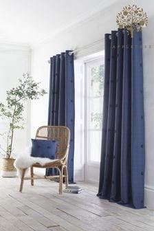 Appletree Navy Zara Eyelet Curtains