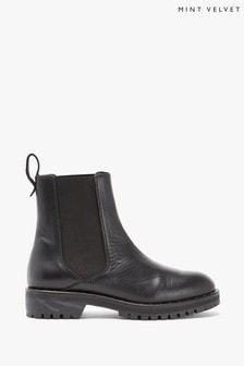 Mint Velvet Black Greta Leather Boots