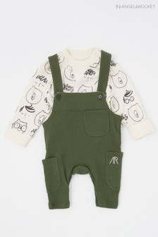 Angel & Rocket Tanner Woven Cord Dungarees With Stripe Vest