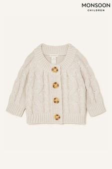 Monsoon Cream Newborn Cable Knit Cardigan