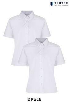 Trutex White Non Iron Short Sleeve Blouse 2 Pack