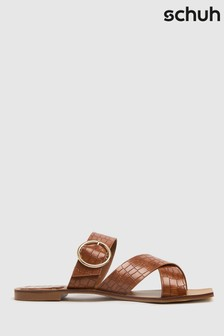 Schuh Brown Tiny Croc Buckle Square Toe Sandals