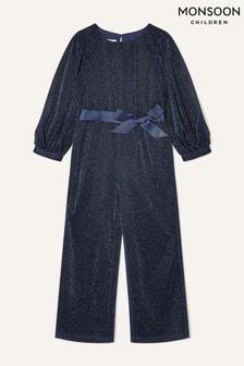 Monsoon Blue Erin Sparkle Long Sleeve Jumpsuit