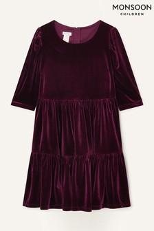 Monsoon Red Tiered Velvet Dress