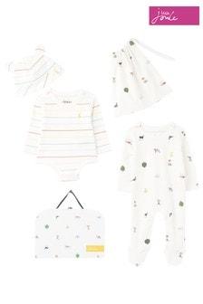 Joules Newborn Unisex White The Organically Grown Cotton 3 Piece Set