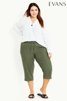 Evans Green Linen Blend Crop Trousers